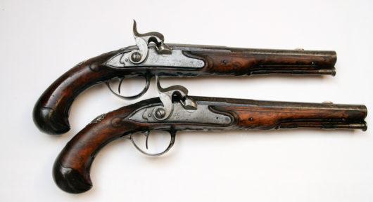 11425 - Paar Steinschlosspistolen, aptiert