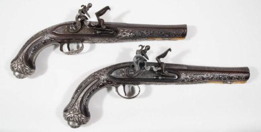 Paar osmanische Silberpistolen