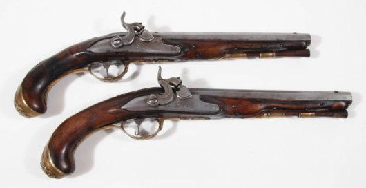 Paar Steinschlosspistolen, aptiert