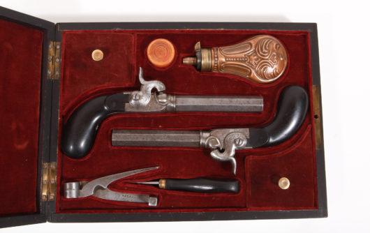 15088 - Paar Perkussionsreisepistolen im Kasten