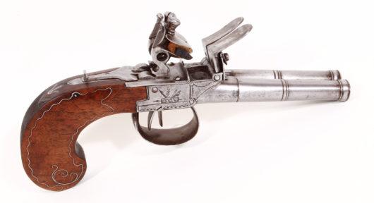 15090 - Doppelläufige Steinschlossreisepistole