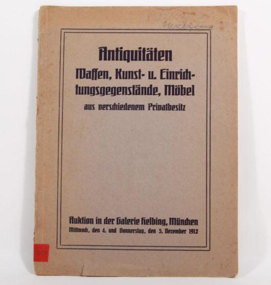 Auktionskatalog Antiquitäten Galerie Helbing, München, 1912