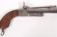 Doppelläufige Lefaucheux- Kipplaufpistole um 1870